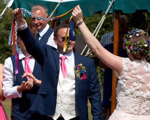 Pete and Stella at the conclusion of their Handfasting Ceremony