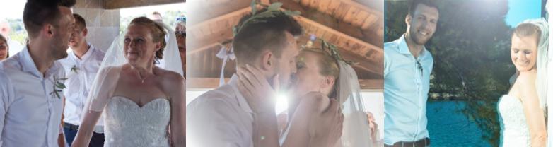 A Beach Wedding Ceremony with Greek Crowns Ritual