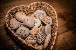 Vows and guest's wishes 'written in stone' at Tom and Beth's celebrant led Oathing stone wedding ceremony