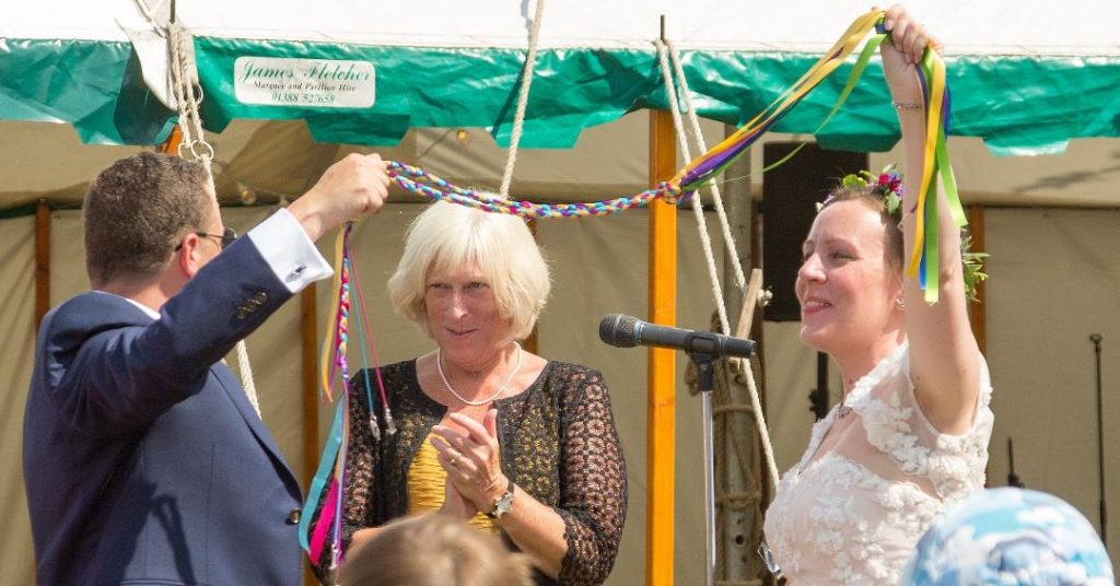 Handfasting Wedding ceremony conducted by Celebrant Anne-Marie